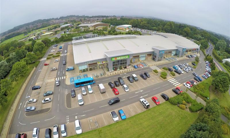 drone image of Homebase retail park