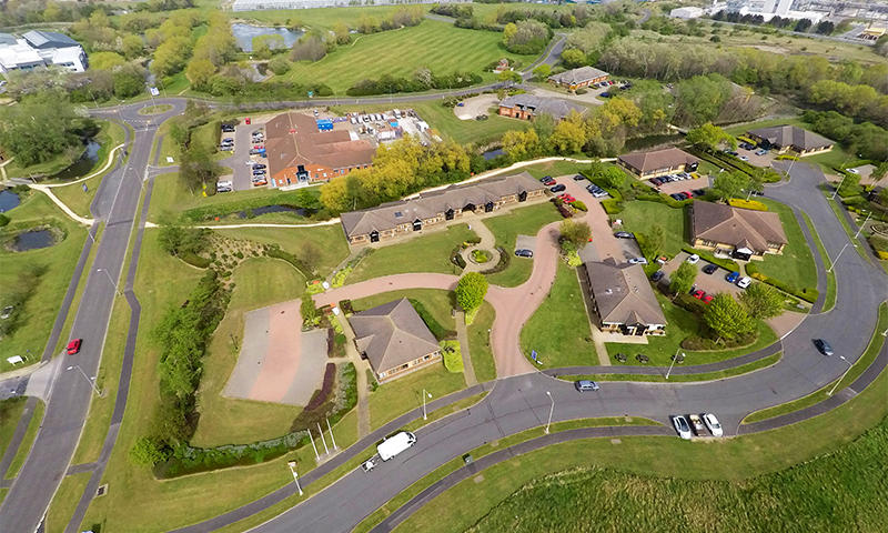 drone photo of business park in northumberland