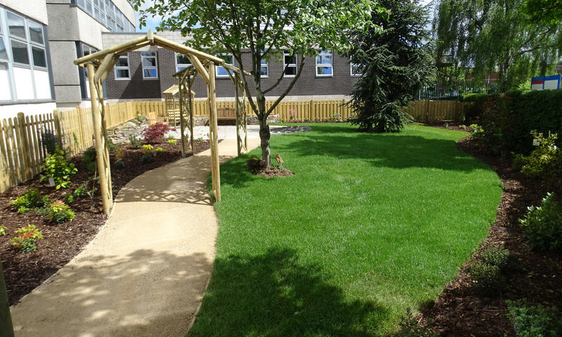 newly landscaped memorial garden at Barnsley Hospital